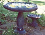 Stained Glass Birdbath made on Gabriola Island, near Nanaimo, BC, Vancouver Island, Canada