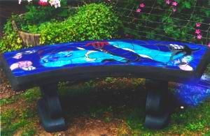 Stained Glass Bench made on Gabriola Island, near Nanaimo, BC, Vancouver Island, Canada