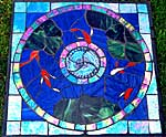 Stained Glass Stepping Stones made on Gabriola Island, near Nanaimo, BC, Vancouver Island